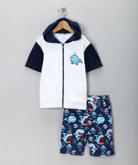 Blue Swim Trunks &amp; Cover-Up - Toddler
