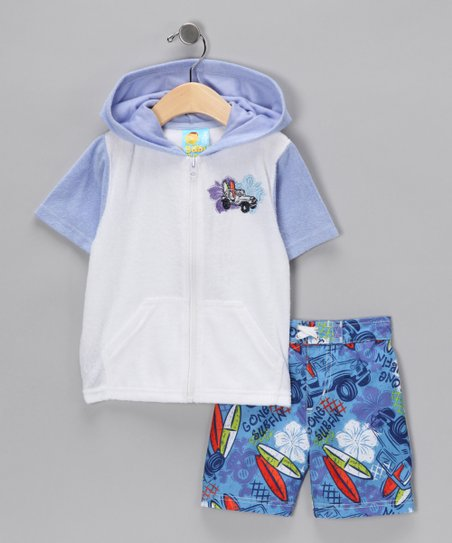 Blue Surfboard Cover-Up & Boardshorts - Toddler & Boys