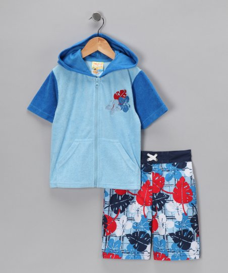 Blue Hawaiian Cover-Up & Boardshorts - Boys