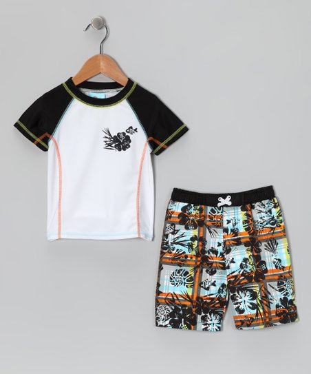 Brown Hibiscus Rashguard & Swim Trunks - Infant & Toddler