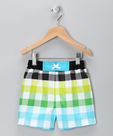 Blue &amp; Yellow Checker Swim Trunks - Infant &amp; Boys
