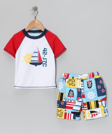 Nautical Rashguard & Swim Trunks - Boys