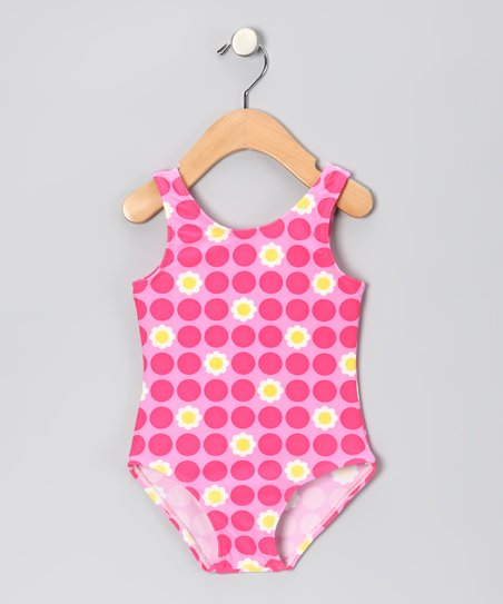 Red & Pink Polka Dot Flower One-Piece - Toddler