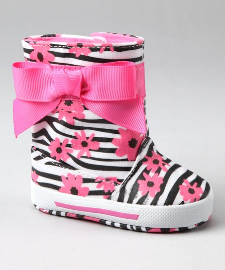 Pink &amp; Black Zebra Flower Rain Boot