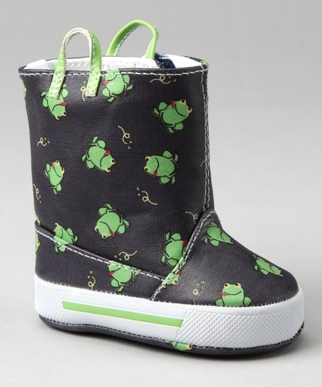 Navy & Green Frog Rain Boot