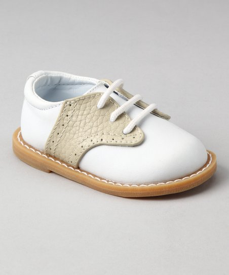 White & Tan Pebble Leather Oxford