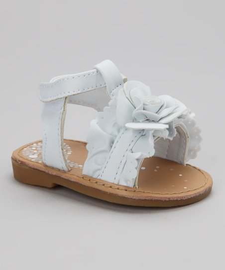 White Ruffle Flower Sandal