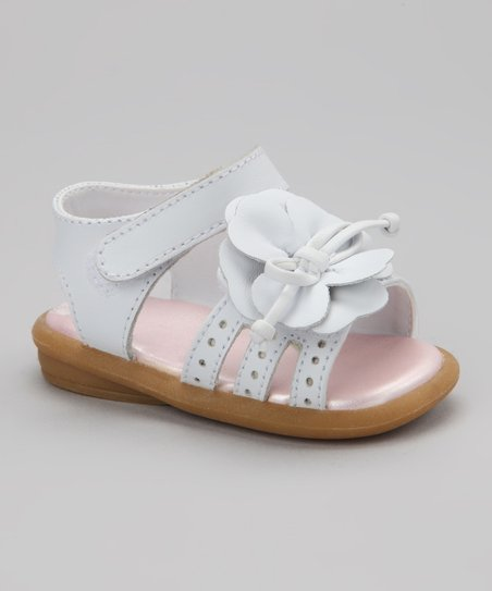 White Leather Flower Sandal