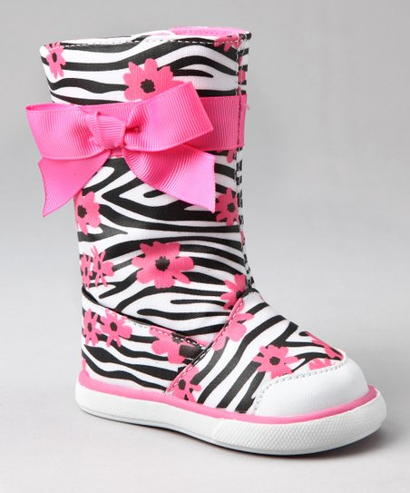 Pink & Black Zebra Tall Rain Boot