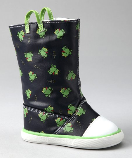 Navy & Green Frog Tall Rain Boot