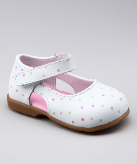 White & Pink Polka Dot Mary Jane