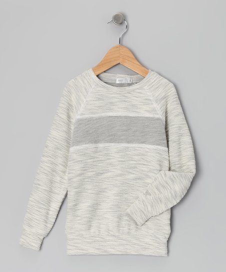Baby Eggi Heather Gray Stripe Sweatshirt - Toddler & Boys