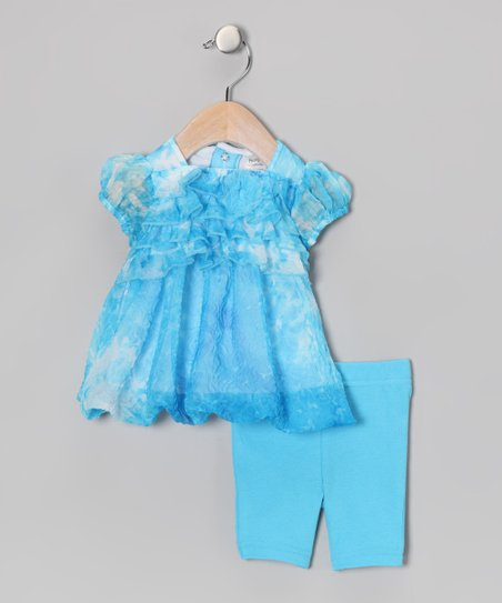 Blue Ruffle Tunic & Capri Leggings