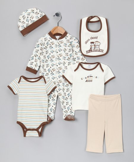 Cream & Brown 'Choo Choo' Six-Piece Layette Set - Infant