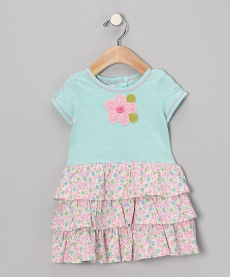 Blue Flower Ruffle Dress - Infant & Toddler