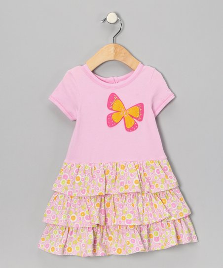 Light Pink Butterfly Ruffle Dress - Infant & Toddler