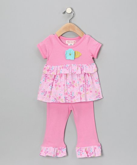Pink Flower Tunic &amp; Pants - Infant &amp; Toddler
