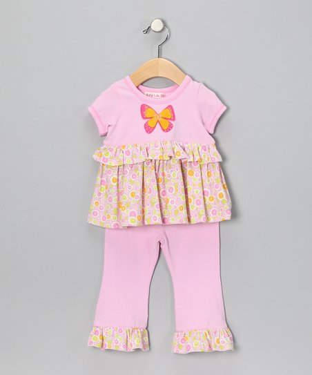 Light Pink Butterfly Tunic & Pants - Infant & Toddler