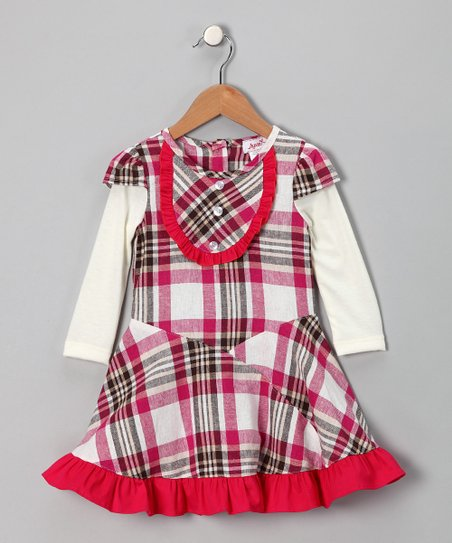 Fuchsia & Ivory Plaid Layered Dress - Toddler & Girls