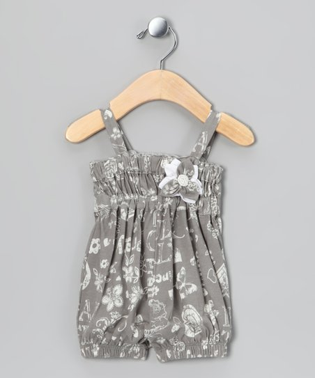 Gray Rose Bubble Romper - Infant