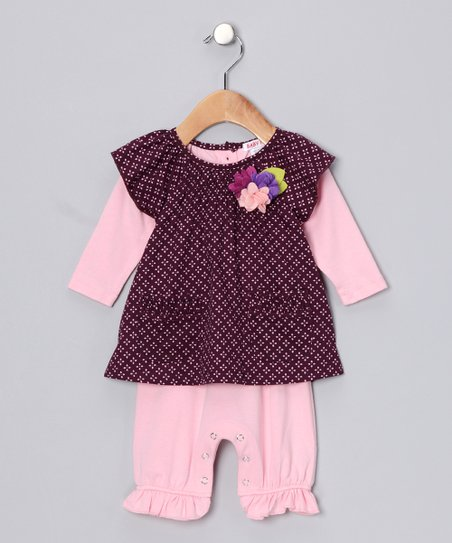 Mauve & Pink Layered Playsuit - Infant