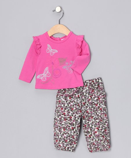 Fuchsia Butterfly Top & Floral Corduroy Pants - Infant