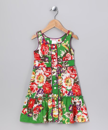 Emerald Rose Button-Up Dress - Toddler & Girls