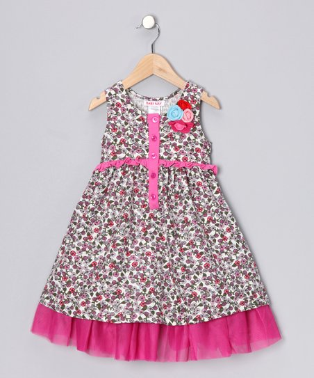 Fuchsia Floral Corduroy Chelsea Dress - Toddler & Girls