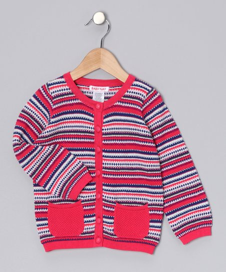 Pink & Blue Stripe Cardigan - Girls