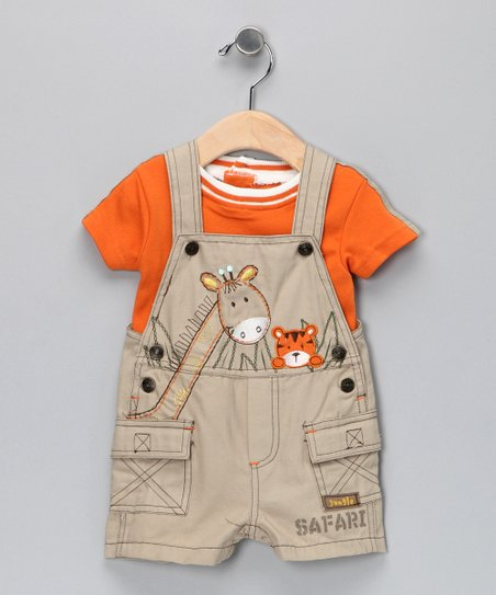 Orange Giraffe Tee & Shortalls