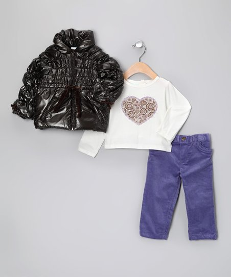 Brown Pearl Quilted Jacket Set - Infant