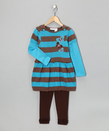 Aqua Stripe & Butterfly Sweater Dress & Pants - Girls