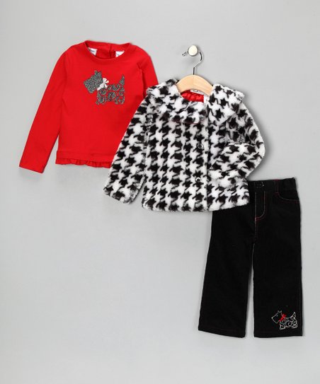 Red Houndstooth Jacket Set - Infant