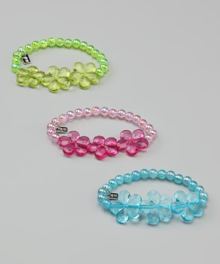 Blue, Pink & Green Power Flower Bracelet Set