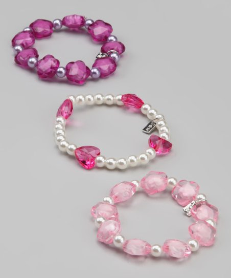 Pink Flower Patch &amp; Sweet Petite Bracelet Set