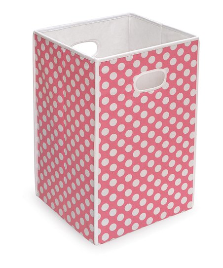 Pink Polka Dot Folding Hamper