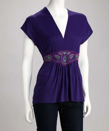 Purple Surplice Paisley Top