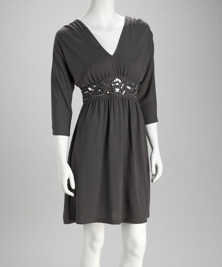 Charcoal V-Neck Dress