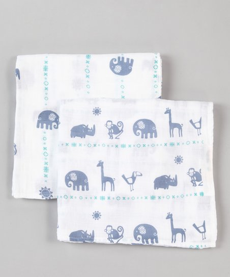 Blue Jungle Organic Swaddling Blanket Set