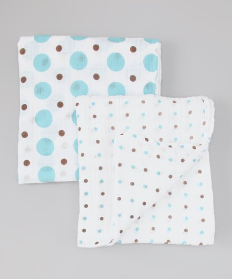 Blue & Brown Polka Dot Organic Swaddling Blanket Set