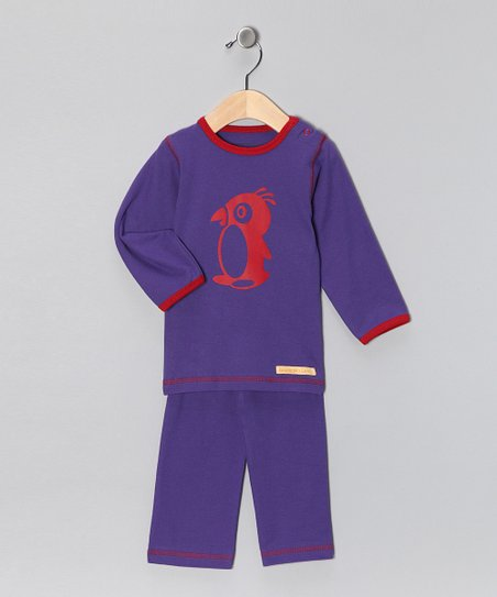 Purple Penguin Organic Tee &amp; Yoga Pants - Infant &amp; Toddler