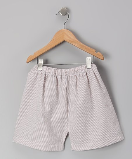 Brown Seersucker Shorts - Infant, Toddler & Kids