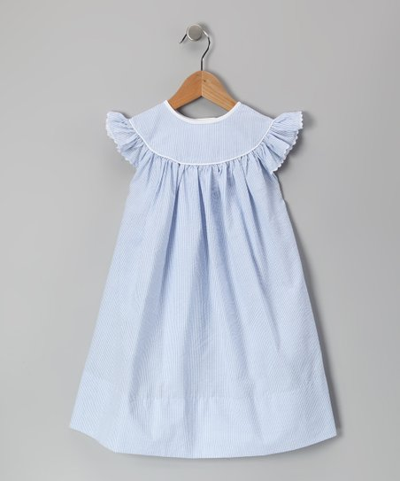 Blue Seersucker Angel-Sleeve Dress - Infant, Toddler & Girls