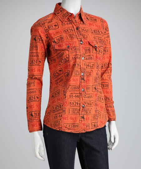 Barn Fly Trading Orange License Plate Western Button-Up Shirt