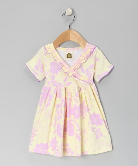 Yellow & Lavender Floral Surplice Dress - Infant & Toddler