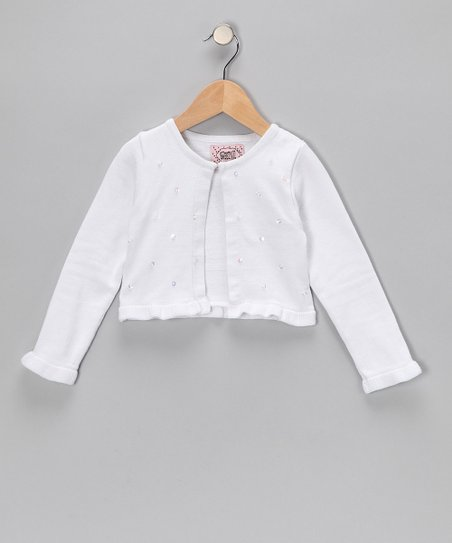 White Bead Crop Cardigan - Toddler & Girls