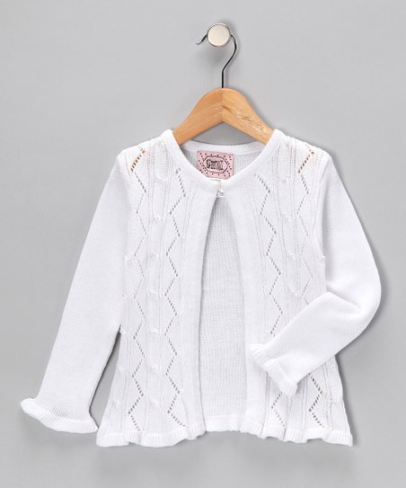 White Open Cardigan - Infant, Toddler & Girls