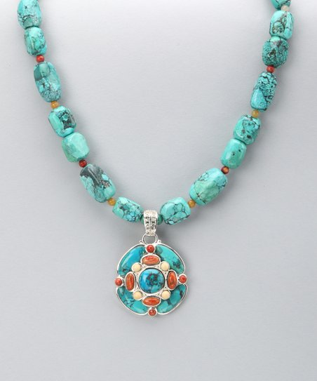 Turquoise & Orange Sponge Coral Nugget Pendant Necklace
