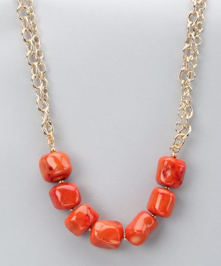 Orange Sponge Coral Necklace