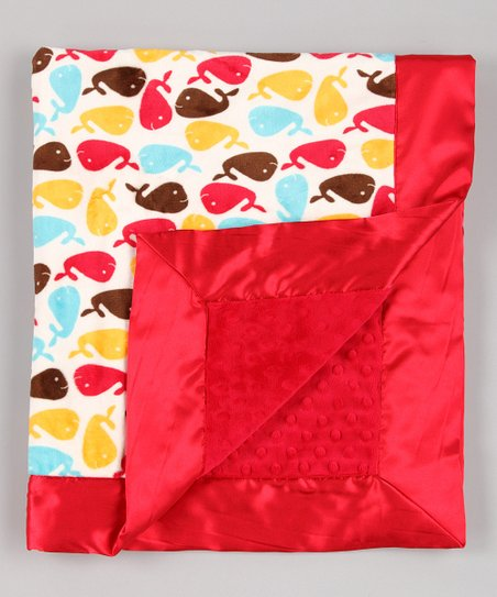 Red Whale Watching Flat Satin Stroller Blanket